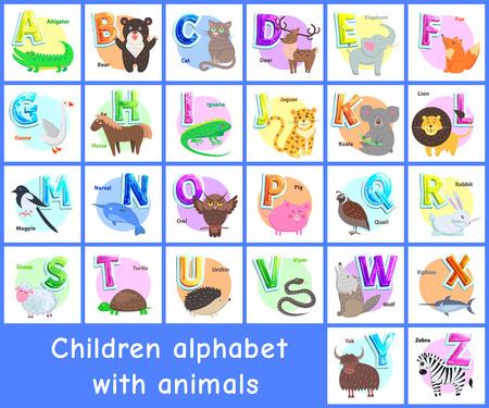 Enfants Alphabet Affiches Ensemble Illustration Vectorielle Vecteurs