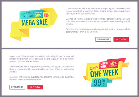 Big sale, mega discount and hot price advertising phrases banner set with text. Special exclusive offer landing page sample for shops and stores e-commerce. Stock Vector - 110932640