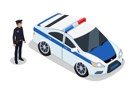 Policeman on Duty and Car Icons Vector Illustration