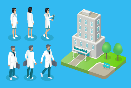 Doctors and Hospital House Isolated on 3D Poster