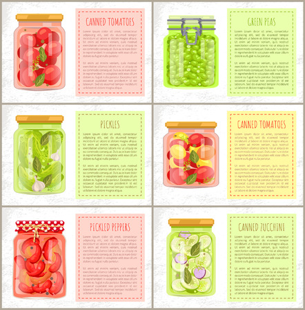 Canned Tomatoes and Green Peas Vector Illustration