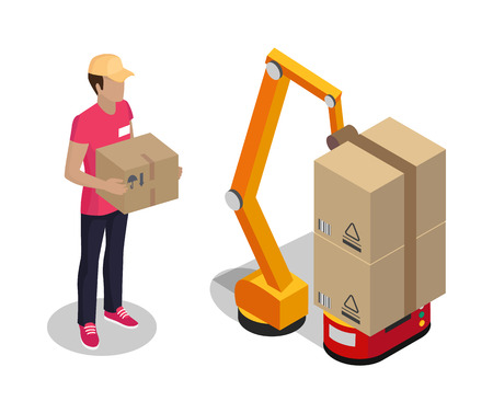 Plant Worker Holding Cardboard Box Color Poster Stock Photo