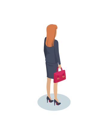 Businesswoman with Briefcase Vector Illustration