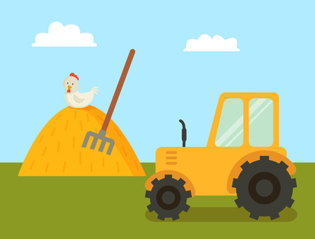 Abstract Farm with Tractor and Stack of Hay Poster Illustration