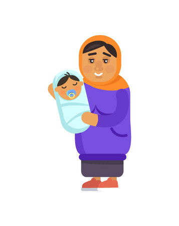 Muslim Grandmother with Kid Vector Illustration