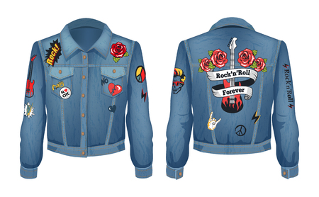 Rock-n-roll forever patches with roses flowers and electric guitar on jeans jacket. Denim clothes popular with horns sign, peace vector illustration