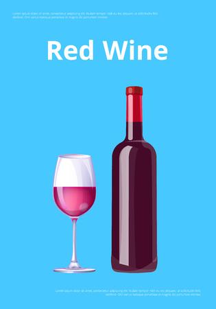 Red Wine Poster Bottle Burgundy Merlot and Glass Stock Vector - 111003751