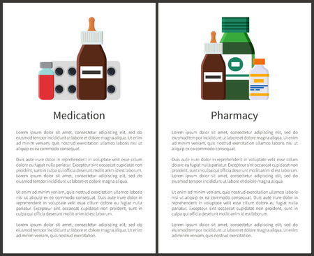Pharmacy Medication Items Set Vector Illustration