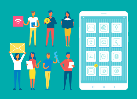Developers set and big mobile phone, team of people developing smartphones functions, men women working on cell improvements, vector illustration Çizim