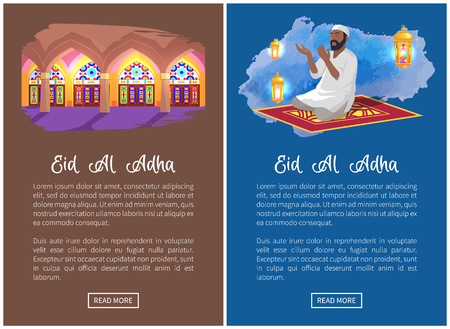 Eid Al Adha grandiose religious event web pages set. Sacred place interior and prayer performs traditional ritual online promo vector illustrations.