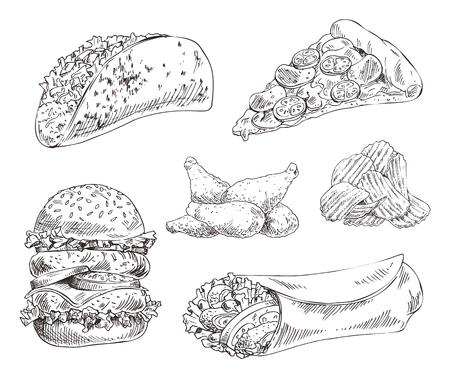 Fastfood instellen hand getrokken monochroom vectorillustratie. Pizza slice en taco's, chips en kippenvleugels, dubbele hamburger en döner kebab schetsstijl Vector Illustratie