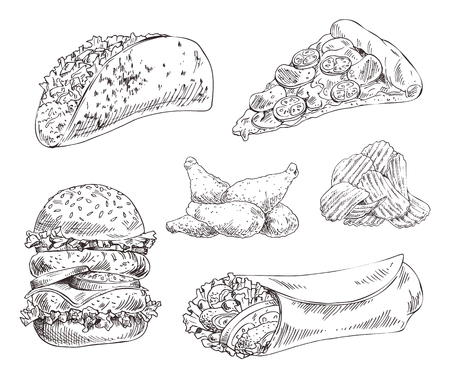 Fast food set hand drawn vector monochrome illustration. Pizza slice and tacos, chips and chicken wings, double burger and doner kebab sketch style Illustration