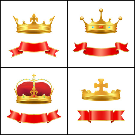 Crown Regal Power and Banner Vector Illustration