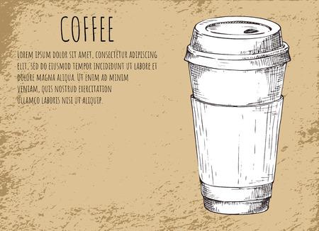 Coffee Cup Beverage Poster Vector Illustration Stok Fotoğraf