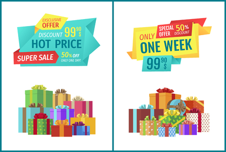 Special offer vector banner, pile of boxes. Hot price, only one week or day promotion, super sale, exclusive discount poster with colorful presents