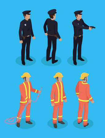 Police Officer and Firefighter Vector Illustration