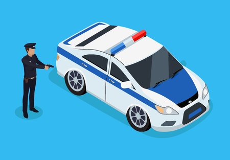 Police Officer Standing Near Patrol Car Color Card