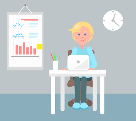 Working office employee color vector illustration, clock and paper with statistical charts and plots on wall, man with laptop sitting by cozy table