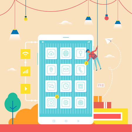 Developer swinging on rope close to big mobile phone placing notification and improving smartphones functions, electric bulbs on vector illustration