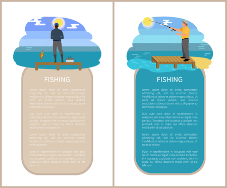 Fishing poster activities posters set with headlines and text sample. People with rods and tackle boxes catching fish. Fisherman vector illustration