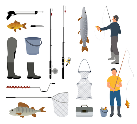 Fishing man with fish, fish-rod and tackle icon. Nets and icebreaker, bucket and box, harpoon and knife, rubber boot and spinning vector illustration