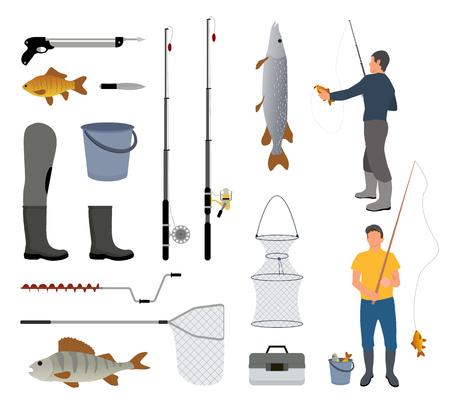 Homme de pêche avec icône poisson, canne à poisson et attirail. Filets et brise-glace, seau et boîte, harpon et couteau, botte en caoutchouc et illustration vectorielle en rotation