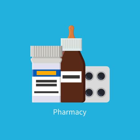 Pharmacy Poster Medications Vector Illustration Imagens - 111111445
