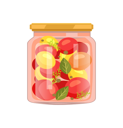 Twist-top glass jar including red and yellow tomato veggie, bay leaf, whole pepper and dill seasoning. Homemade canned vegetable mix vector illustration.