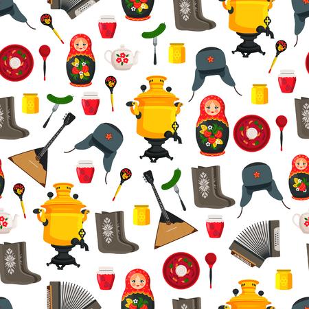 Russia Items Set Souvenirs Vector Illustration