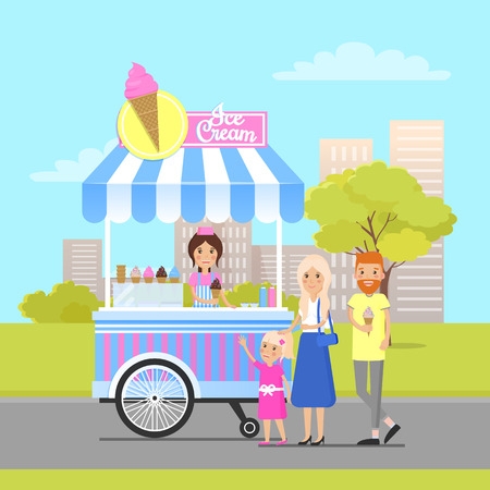 Ice cream shop in modern city park colorful poster, vector illustration of mobile trolley cart with fresh sweet soft frozen food and cheerful couple, daughter