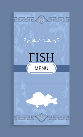 Seafood menu with shadow fish silhouette vector. Sea animal sketch at bottom of cover for restaurant with geometric ornament at top and bottom edge  イラスト・ベクター素材