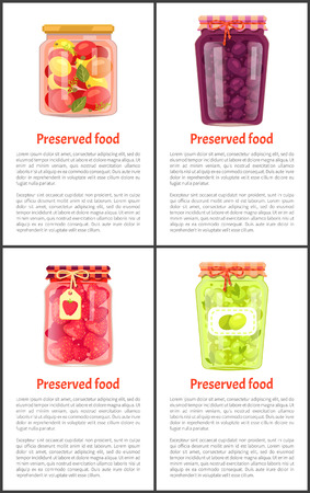 Conservas de frutas y verduras Set Vector icono Ilustración de vector