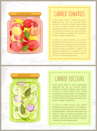 Canned tomatoes and zucchini vector illustration isolated on white background, text sample and glossy banks with preserved food, healthy meal in jars