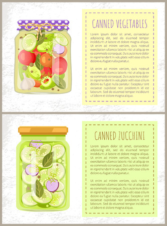 Canned Pickled Vegetables and Zucchini, Glass Jars