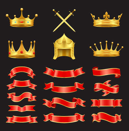 Vector ancient armorial symbols. King and monarch crown and diadem, knight gold helmet and sword, heraldic straight and embowed ribbons isolated.