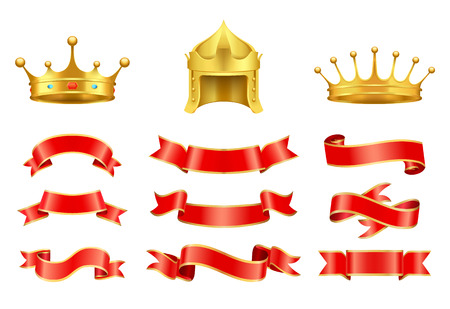 Gold crown with jewel, helmet and red ribbons vector set. Vintage icons , strips of different shape and style, horizontal string decoration Иллюстрация