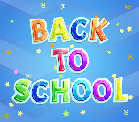 Back to school greeting phrase for school children. Vector poster with cartoon lettering, twirl and stars ticker tape decor for knowledge day 1st September