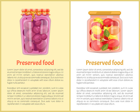 Preserved fruit and vegetables set vector icons. Sour plum compote, jam and conserved tomato in marinade with spices, homemade containers with food poster Archivio Fotografico - 111112717