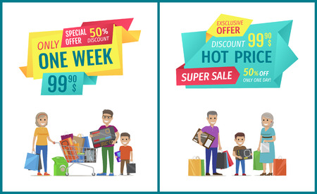 Special offer vector banner with people shopping. Hot price, only one week, super sale, exclusive discount, happy family with full packages and truck