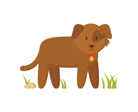Brown Dog with Red Collar Cartoon Character Poster Illustration