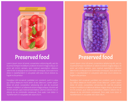 Preserved Food Posters Tomatoes and Blueberries Illustration