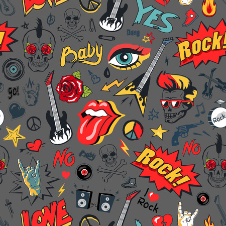 Rock elements seamless pattern. Guitar and loudspeakers, tongue and horned fingers, peace sign of hippie and electric guitars vector illustration Foto de archivo - 111115113