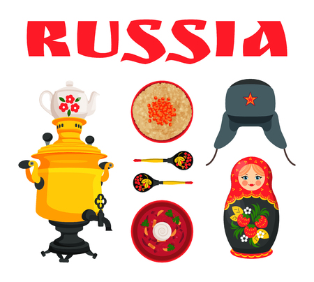 Russian culture symbol borscht with sour cream and wheat porridge, samovar and painted wooden spoon, ushanka hat and nesting doll illustration set.