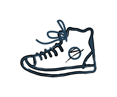 Shoes Sneakers Monochrome Icon in Line Art Style