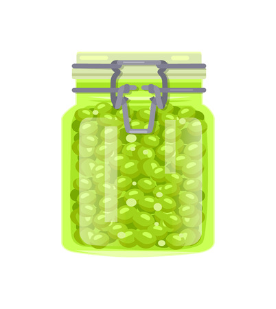 Canned Green Pea Legume in Glass Jar with Clip Cap