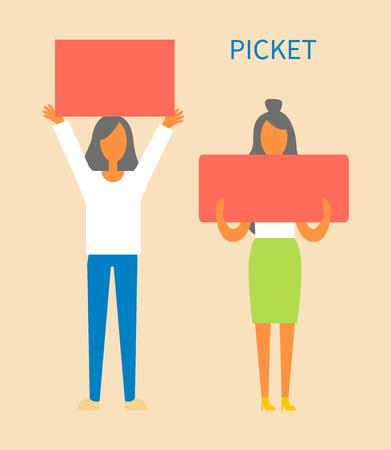 Piquete de mujeres sosteniendo mesas protegiendo los derechos, cambiando la sociedad para mejores manifestantes con pancartas y lemas, damas aisladas en ilustración vectorial