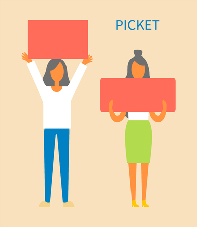 Picket women holding tables protecting rights, changing society for better protesters with banners and slogans, ladies isolated on vector illustration