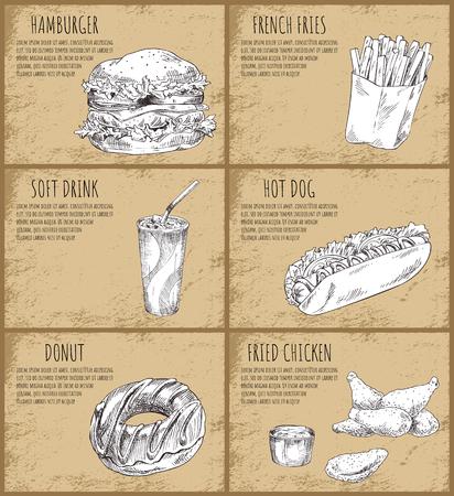 Hamburger and Hot Dog Set Vector Illustration