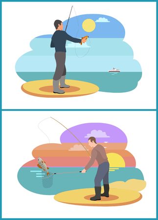 Fishing People with Rods Set Vector Illustration