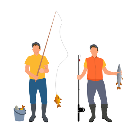 People Catching Fish Together Vector Illustration